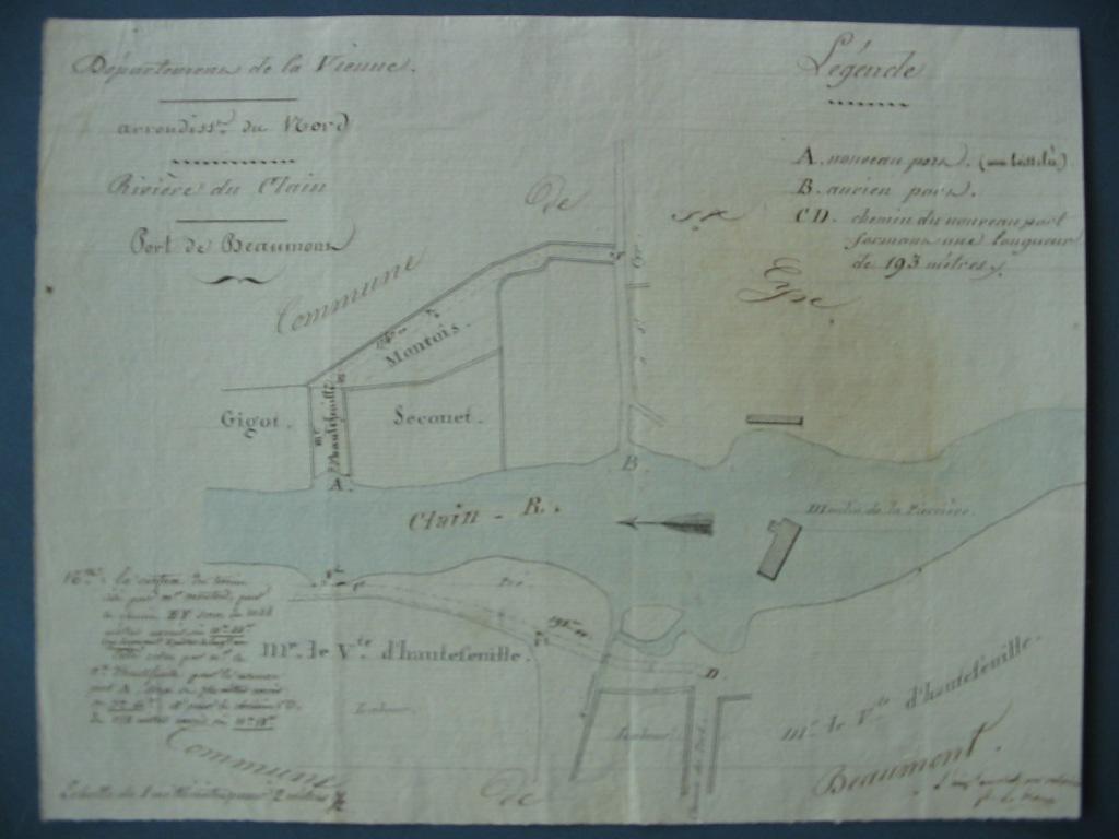 Plan de l'implantation du port de Beaumont en vue de l'installation d'un passage d'eau.